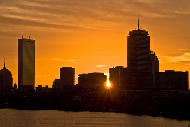 A new day: sunrise over the Charles River in Boston.